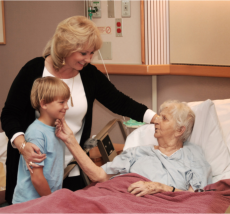a patient visited by his daughter and grandson